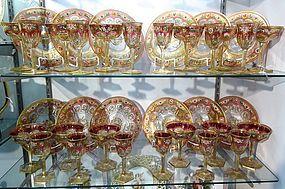 Antique 36 Piece Moser Enameled Cranberry Glass Service