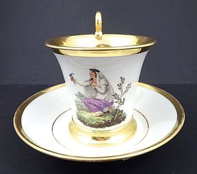 Antique Neo-Classical Nymphenburg Cup & Saucer, A
