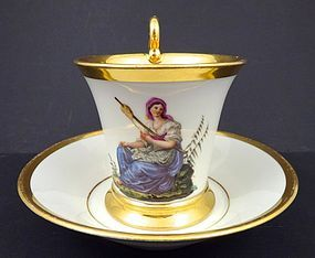 Antique Neo-Classical Nymphenburg Cup & Saucer, B