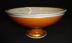 Mid Century Royal Copenhagen Crackle Pedestal Bowl
