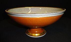 Mid Century Royal Copenhagen Crackle Pedestal Bowl