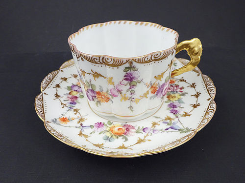 Charming Antique F. Hirsch Dresden Tea Cup & Saucer