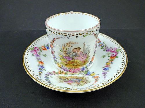 Antique Scenic Hirsch Dresden Demitasse Cup & Saucer