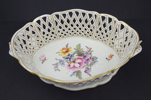 Antique Nymphenburg Reticulated Porcelain Basket