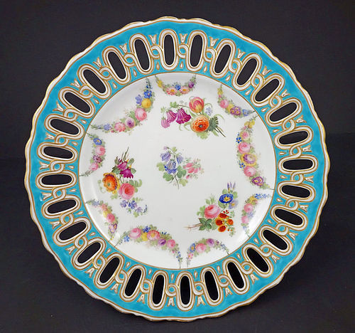 Antique Copeland Hand Painted Reticulated Plate