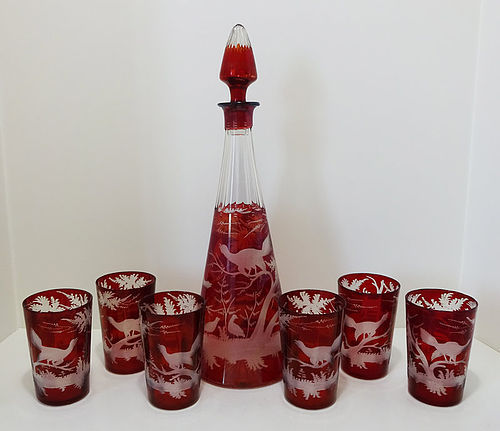 Antique Bohemian Ruby Etched Decanter & Glasses