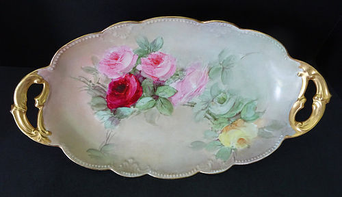 Antique Klingenberg Limoges Serving Dish with Roses