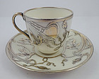 Ceramic Arts Lenox Silver Overlay Demitasse Cup & Saucer