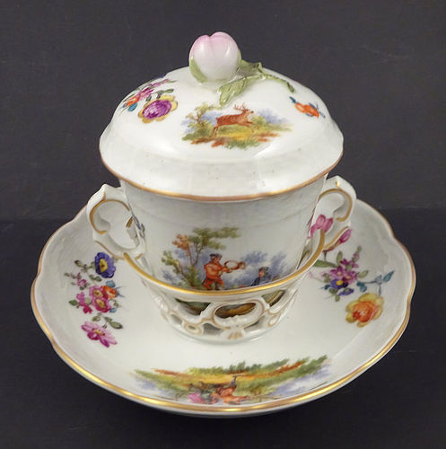Antique Vienna Covered Chocolate Cup & Saucer