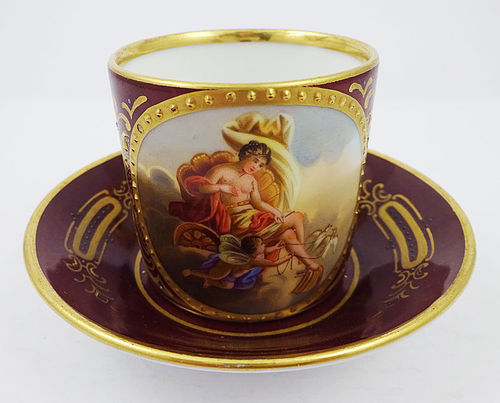 Antique Royal Vienna Style Demitasse Cup & Saucer