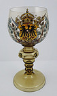 Antique Bohemian Enameled Wine Goblet with Coat of Arms