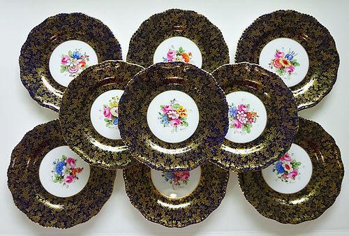 10 Royal Worcester Artist Signed Dessert Plates