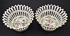 Antique Pair of E. Clauss Reticulated Porcelain Baskets