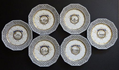 6 Antique Nymphenburg King�s Pattern Reticulated Plates