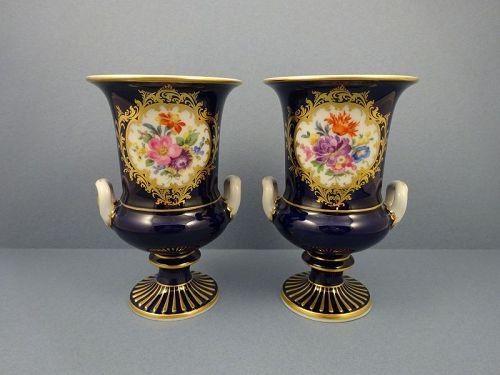 Pair of Vintage Meissen Cobalt & Floral Vases