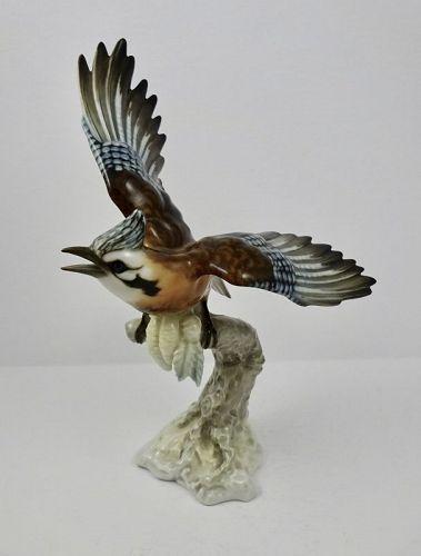 Hutschenreuther Porcelain Blue Jay Bird Figurine