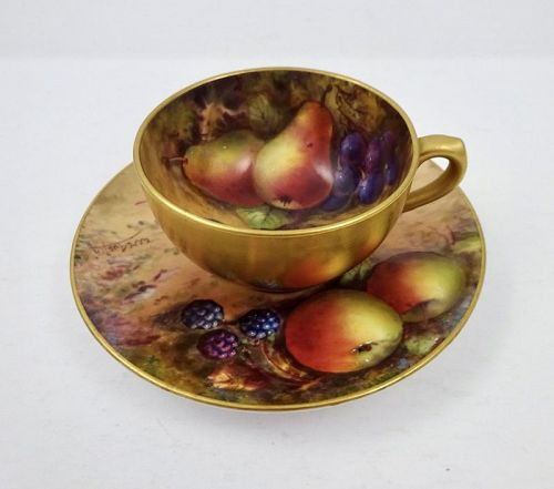 Vintage Royal Worcester Fruit Demitasse Cup & Saucer