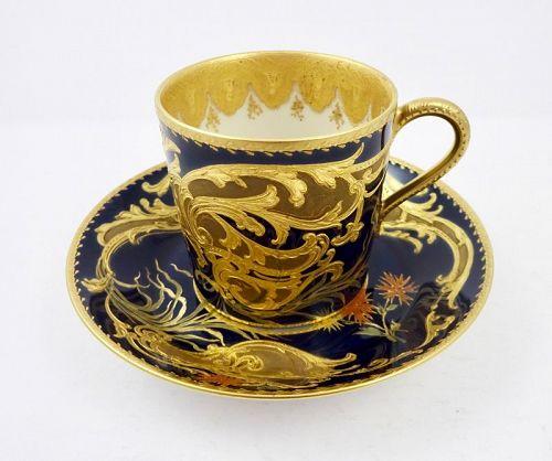 Antique Haviland Limoges Sevres Style Demitasse Cup & Saucer