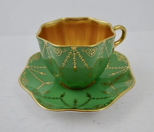 Antique Coalport Scalloped Demitasse Cup & Saucer