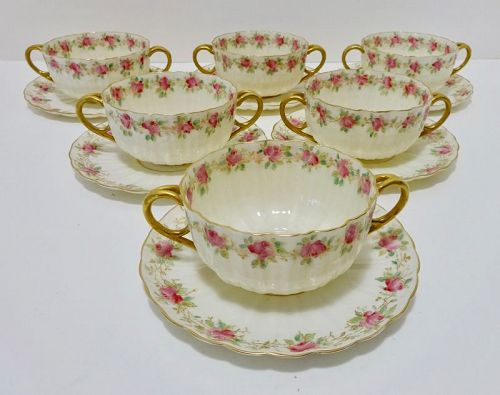 6 Willets American Belleek Soup Cups & Saucers