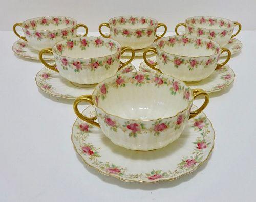 6 Willets American Belleek Soup Cups & Saucers