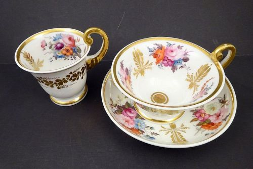 Antique Nantgarw Wales Trio Cups & Saucer