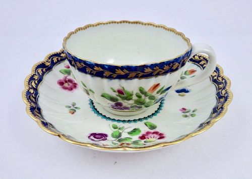 Worcester Dr. Wall Tea Cup & Saucer, Fluted, Floral