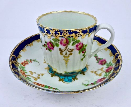 Worcester Dr. Wall Coffee Cup & Saucer, Floral, Fluted