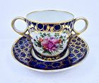 Worcester Chamberlain Double Handled Cup & Saucer