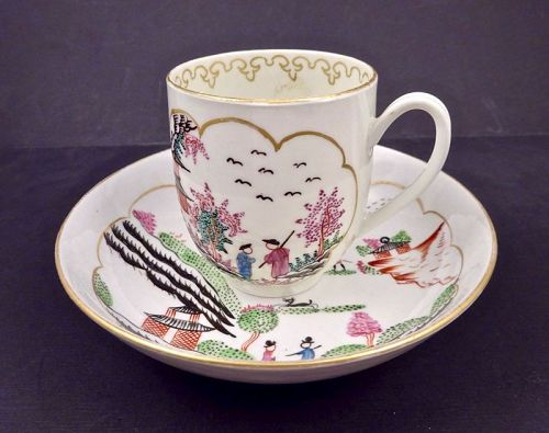 Chamberlain Worcester Coffee Cup & Saucer �Hunting in Compartments�