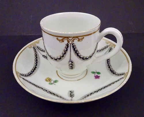 Worcester England Coffee Cup & Saucer, 18th C.