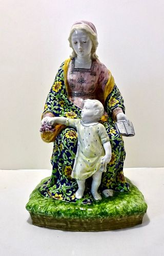 Large Minghetti Faience Madonna & Child Figurine