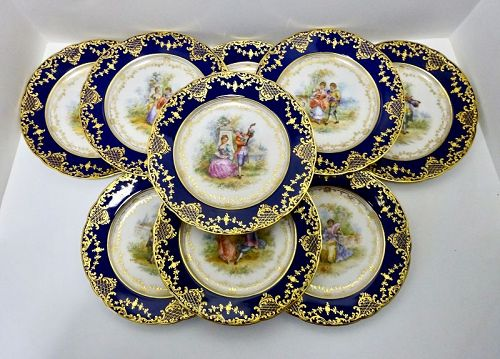 12 Antique Lamm Dresden Watteau Cabinet Plates