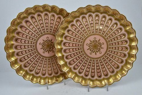 Pair of Antique Copelands Jeweled Cabinet Plates