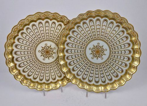 Pair of Antique Copelands Jeweled Cabinet Plates, 1 Blue & 1 White
