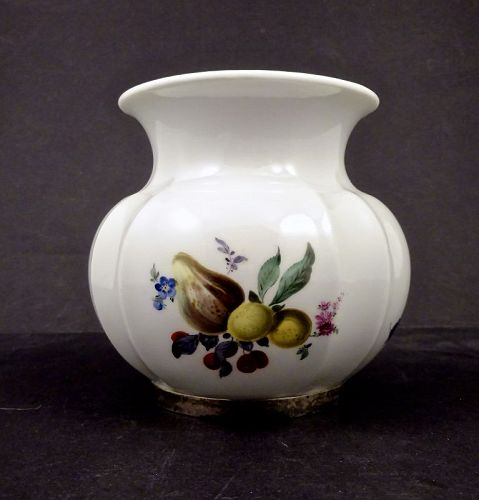 Vintage Meissen Fruit Painted Vase with Sterling Trim