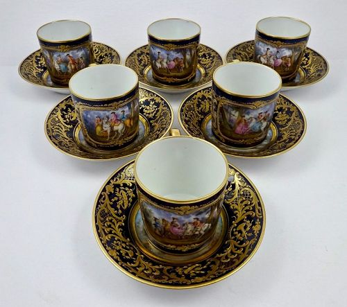 6 Antique Paris Scenic Cups & Saucers