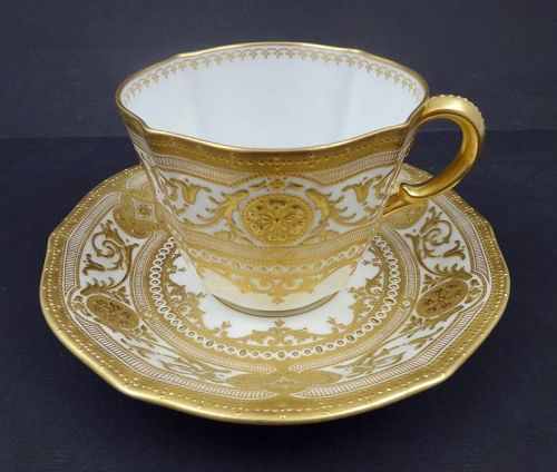 Superb Antique Royal Crown Derby Jeweled Tea Cup & Saucer