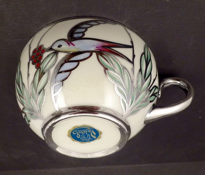 Mid Century Deusch Silver Overlay Tea Cup & Saucer