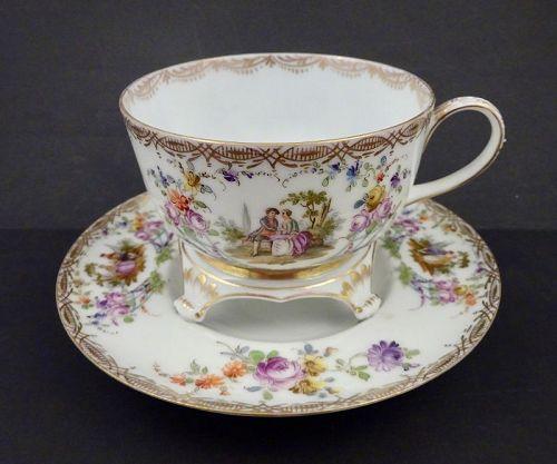 Antique Wolfsohn Dresden Trembleuse Tea Cup & Saucer