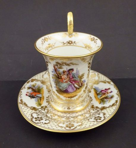 Antique Klemm Dresden Scenic Cup & Saucer