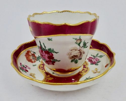 Antique Chelsea Tea Cup & Saucer, Sevres Style