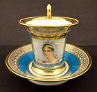 Antique Sevres Portrait Elisa Bonaparte Cup & Saucer