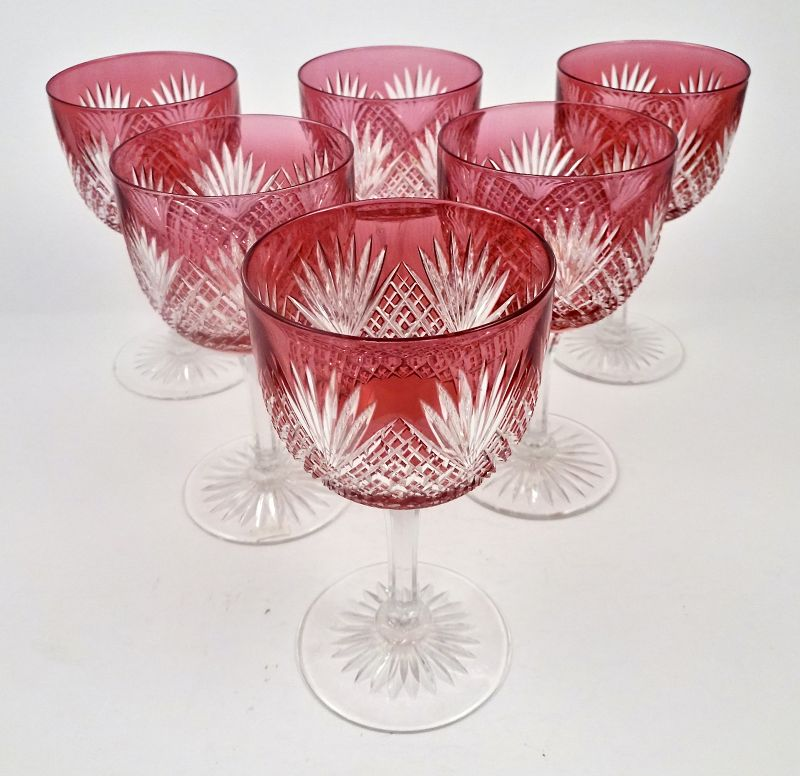 6 Amrican Brilliant Cut Crystal Cranberry To Clear Wine Glasses Item
