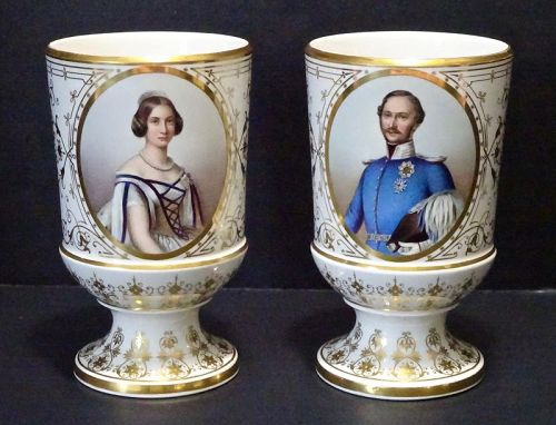 Antique Nymphenburg Porcelain Wedding Goblets