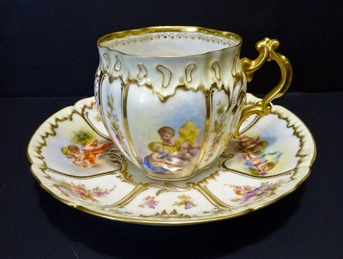 Antique Donath Dresden Tea Cup & Saucer, Cherubs