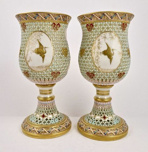 Antique Worcester Goblets/Chalices, Double Walled, Japanesque