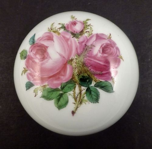 Antique Meissen Porcelain Trinket Box, Roses