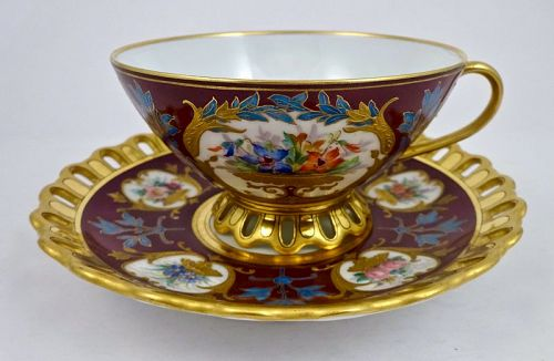Antique Pirkenhammer Reticulated Cup & Saucer