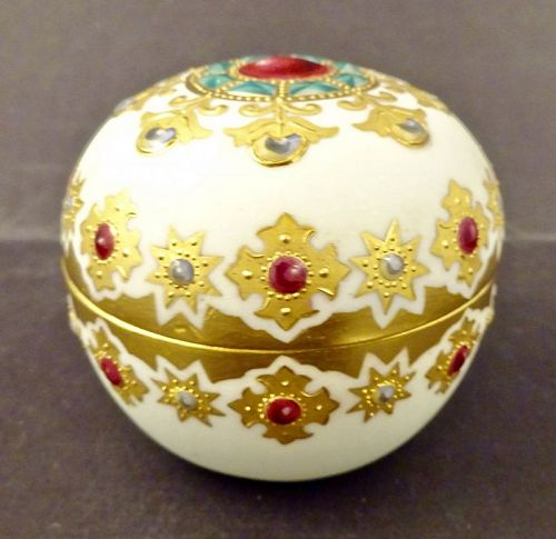 Antique Coalport Covered Box, Jeweled
